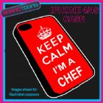 FITS IPHONE 4 / 4S PHONE KEEP CALM IM A  CHEF COOK PLASTIC COVER COOL GIFT RED